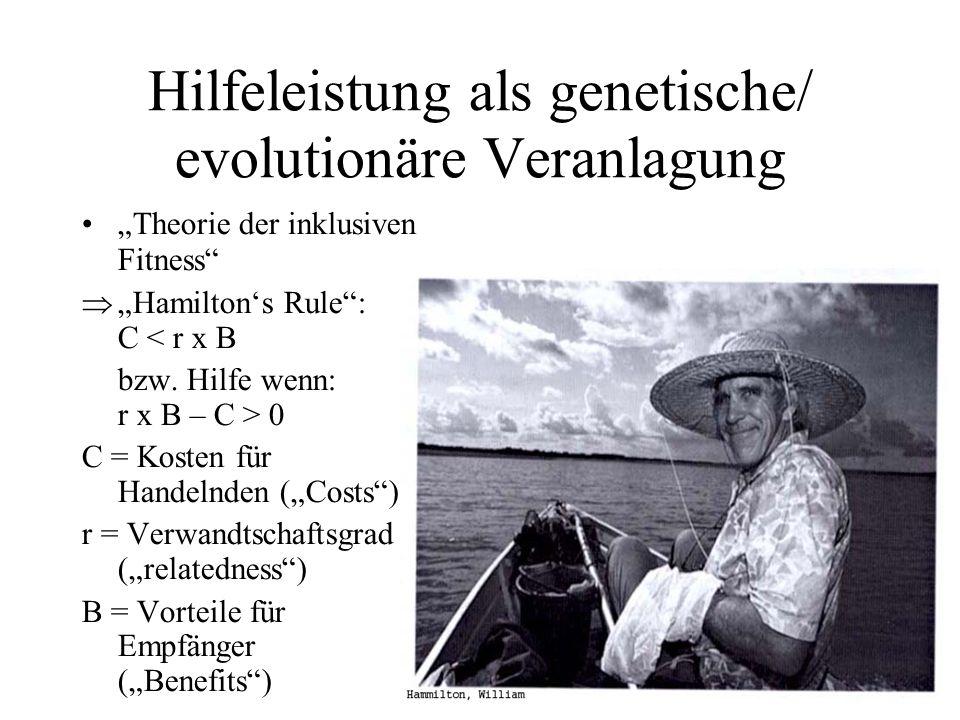 Hilfeleistung als genetische/ evolutionäre Veranlagung Theorie der inklusiven Fitness Hamiltons Rule: C < r x B bzw. Hilfe wenn: r x B – C > 0 C = Kos
