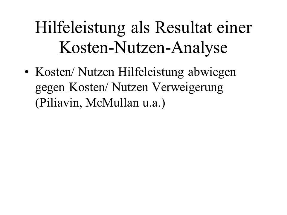 Hilfeleistung als Resultat einer Kosten-Nutzen-Analyse Kosten/ Nutzen Hilfeleistung abwiegen gegen Kosten/ Nutzen Verweigerung (Piliavin, McMullan u.a