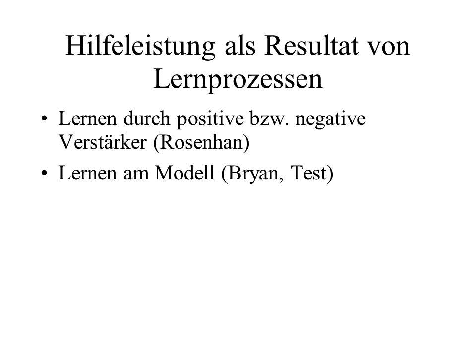 Hilfeleistung als Resultat von Lernprozessen Lernen durch positive bzw. negative Verstärker (Rosenhan) Lernen am Modell (Bryan, Test)