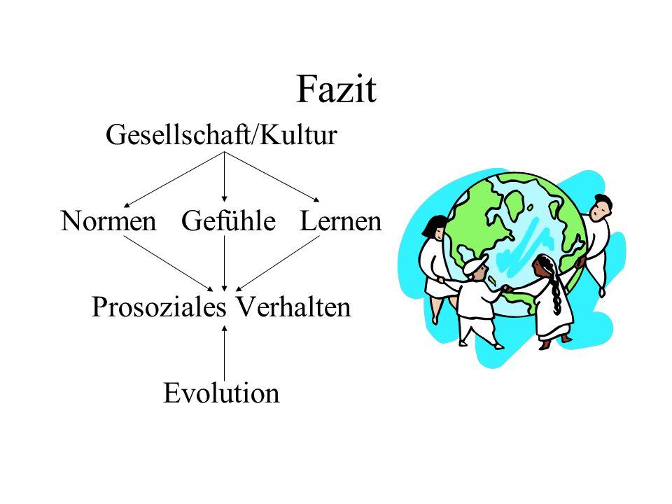 Fazit Gesellschaft/Kultur Normen Gefühle Lernen Prosoziales Verhalten Evolution