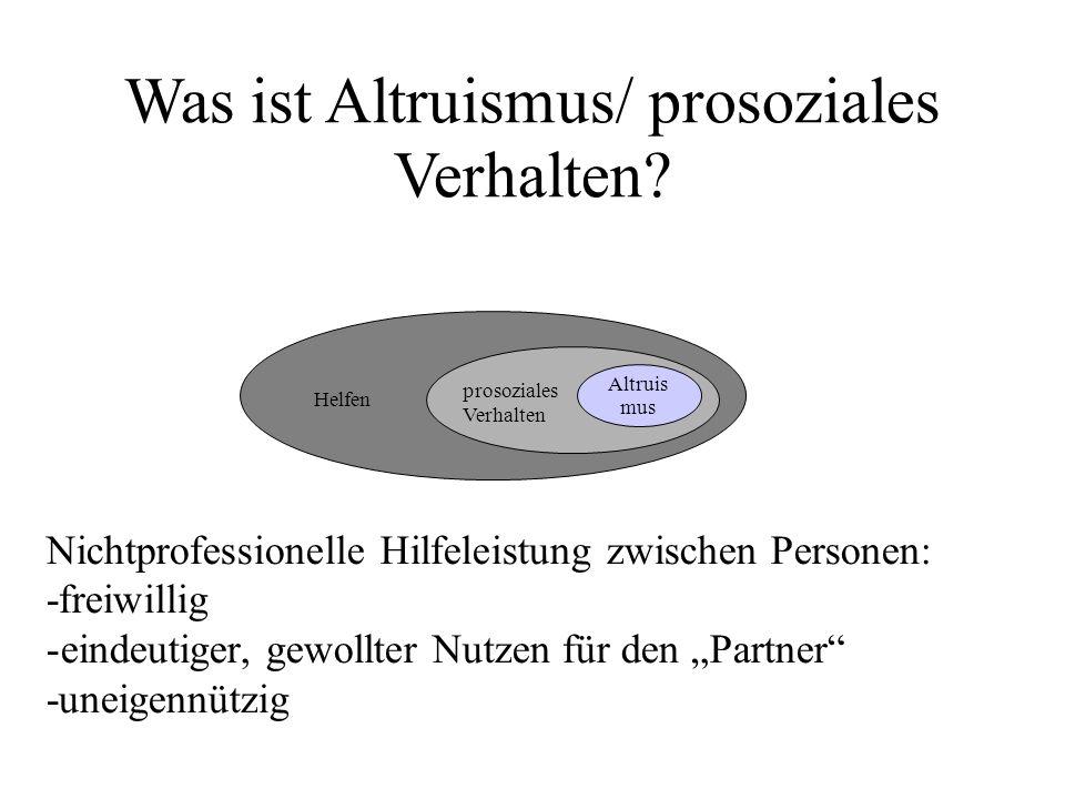 Nichtprofessionelle Hilfeleistung zwischen Personen: -freiwillig -eindeutiger, gewollter Nutzen für den Partner -uneigennützig prosoziales Altruis mus prosoziales Verhalten Helfen Was ist Altruismus/ prosoziales Verhalten?