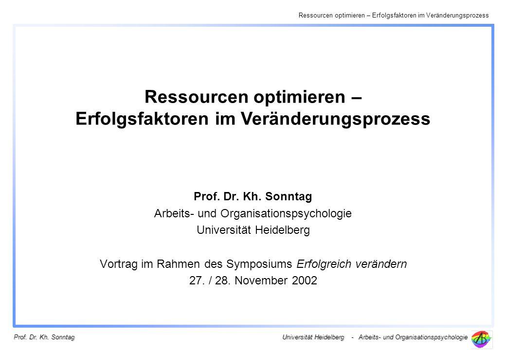 Ressourcen optimieren – Erfolgsfaktoren im Veränderungsprozess Universität Heidelberg - Arbeits- und Organisationspsychologie Prof. Dr. Kh. Sonntag Ar