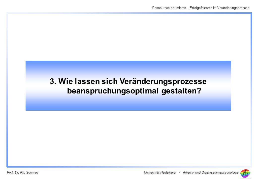 Ressourcen optimieren – Erfolgsfaktoren im Veränderungsprozess Universität Heidelberg - Arbeits- und Organisationspsychologie Prof. Dr. Kh. Sonntag 3.
