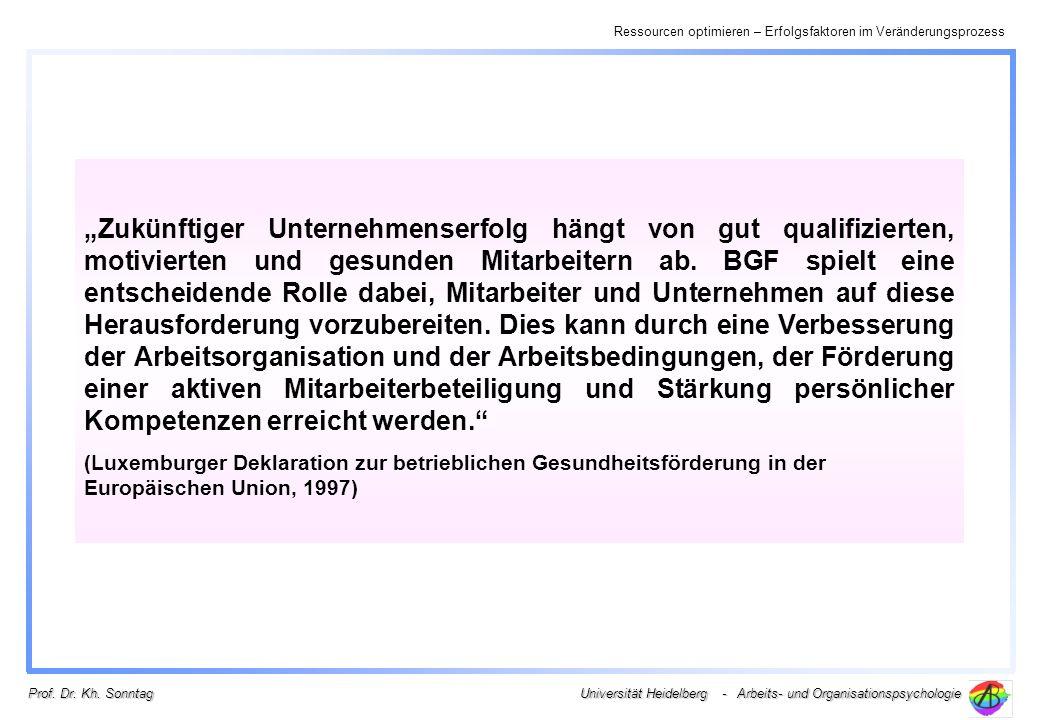 Ressourcen optimieren – Erfolgsfaktoren im Veränderungsprozess Universität Heidelberg - Arbeits- und Organisationspsychologie Prof. Dr. Kh. Sonntag Zu