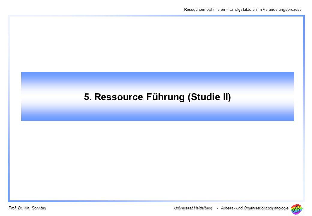 Ressourcen optimieren – Erfolgsfaktoren im Veränderungsprozess Universität Heidelberg - Arbeits- und Organisationspsychologie Prof. Dr. Kh. Sonntag 5.