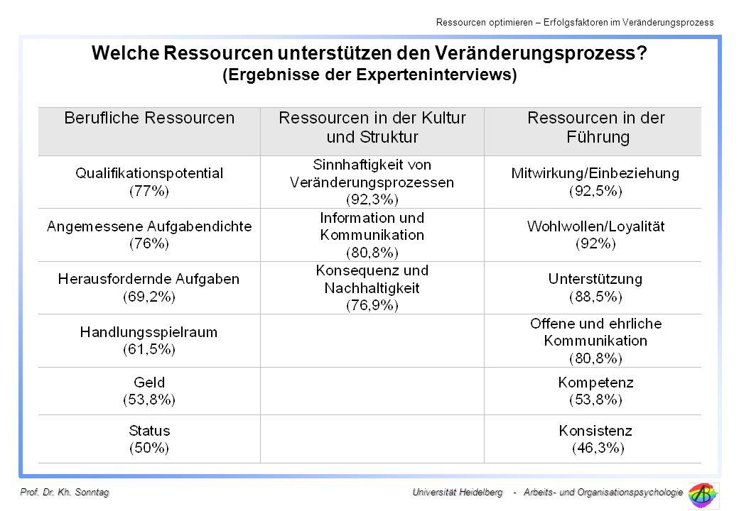 Ressourcen optimieren – Erfolgsfaktoren im Veränderungsprozess Universität Heidelberg - Arbeits- und Organisationspsychologie Prof. Dr. Kh. Sonntag We