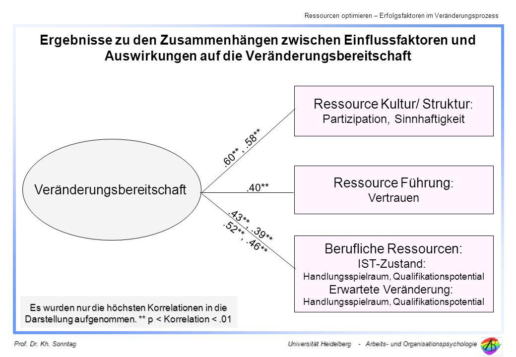 Ressourcen optimieren – Erfolgsfaktoren im Veränderungsprozess Universität Heidelberg - Arbeits- und Organisationspsychologie Prof. Dr. Kh. Sonntag Er