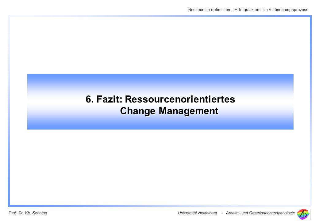 Ressourcen optimieren – Erfolgsfaktoren im Veränderungsprozess Universität Heidelberg - Arbeits- und Organisationspsychologie Prof. Dr. Kh. Sonntag 6.