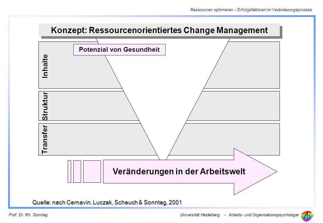 Ressourcen optimieren – Erfolgsfaktoren im Veränderungsprozess Universität Heidelberg - Arbeits- und Organisationspsychologie Prof. Dr. Kh. Sonntag Po