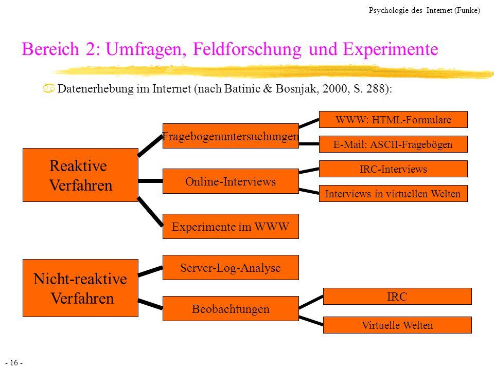 - 16 - Psychologie des Internet (Funke) Bereich 2: Umfragen, Feldforschung und Experimente aDatenerhebung im Internet (nach Batinic & Bosnjak, 2000, S