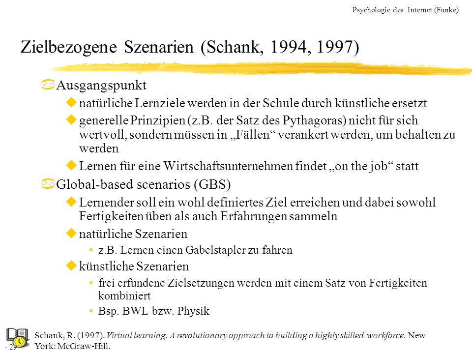 - 29 - Psychologie des Internet (Funke) Zielbezogene Szenarien (Schank, 1994, 1997) aAusgangspunkt unatürliche Lernziele werden in der Schule durch kü