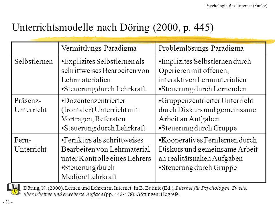 - 31 - Psychologie des Internet (Funke) Unterrichtsmodelle nach Döring (2000, p. 445) Vermittlungs-ParadigmaProblemlösungs-Paradigma SelbstlernenExpli