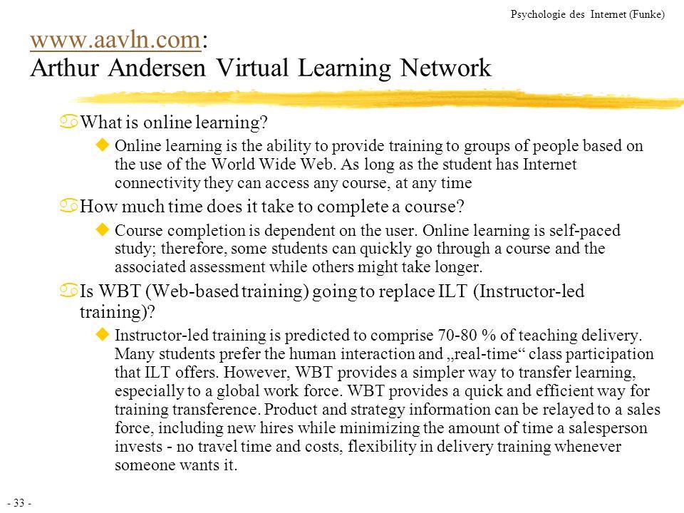 - 33 - Psychologie des Internet (Funke) www.aavln.comwww.aavln.com: Arthur Andersen Virtual Learning Network aWhat is online learning? uOnline learnin