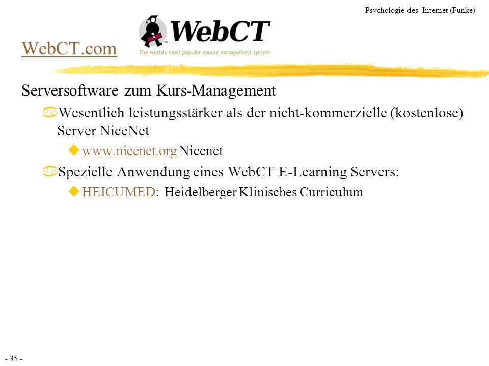 - 35 - Psychologie des Internet (Funke) WebCT.com Serversoftware zum Kurs-Management aWesentlich leistungsstärker als der nicht-kommerzielle (kostenlo