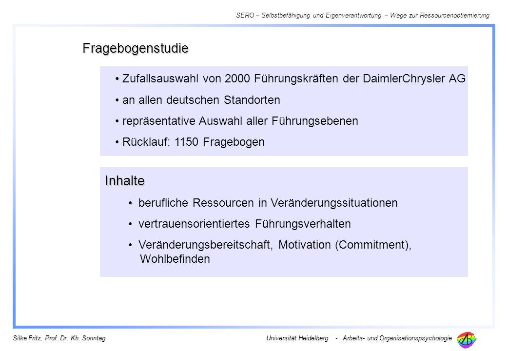SERO – Selbstbefähigung und Eigenverantwortung – Wege zur Ressourcenoptiemierung Universität Heidelberg - Arbeits- und Organisationspsychologie Silke