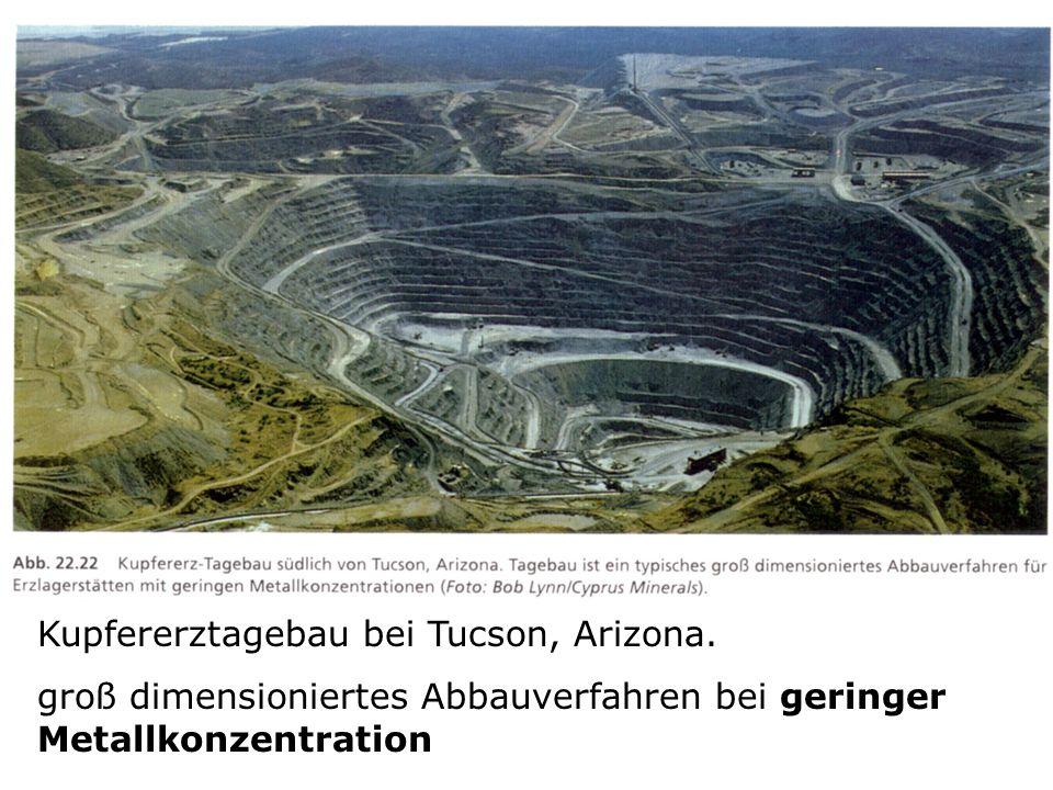 Kupfererztagebau bei Tucson, Arizona. groß dimensioniertes Abbauverfahren bei geringer Metallkonzentration