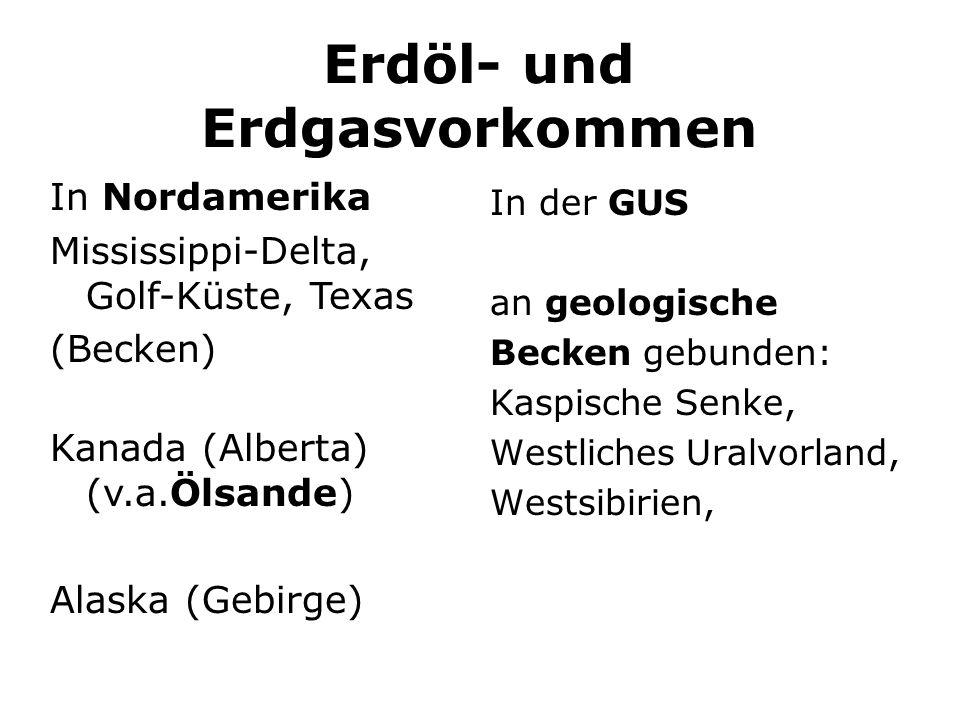 Erdöl- und Erdgasvorkommen In der GUS an geologische Becken gebunden: Kaspische Senke, Westliches Uralvorland, Westsibirien, In Nordamerika Mississipp