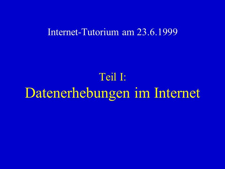 Teil I: Datenerhebungen im Internet Internet-Tutorium am 23.6.1999