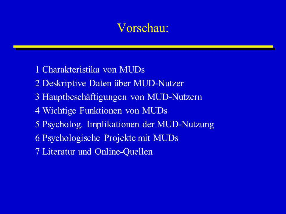 Vorschau: 1 Charakteristika von MUDs 2 Deskriptive Daten über MUD-Nutzer 3 Hauptbeschäftigungen von MUD-Nutzern 4 Wichtige Funktionen von MUDs 5 Psych