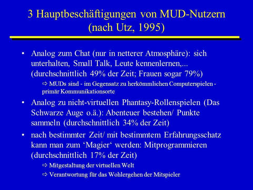 3 Hauptbeschäftigungen von MUD-Nutzern (nach Utz, 1995) Analog zum Chat (nur in netterer Atmosphäre): sich unterhalten, Small Talk, Leute kennenlernen