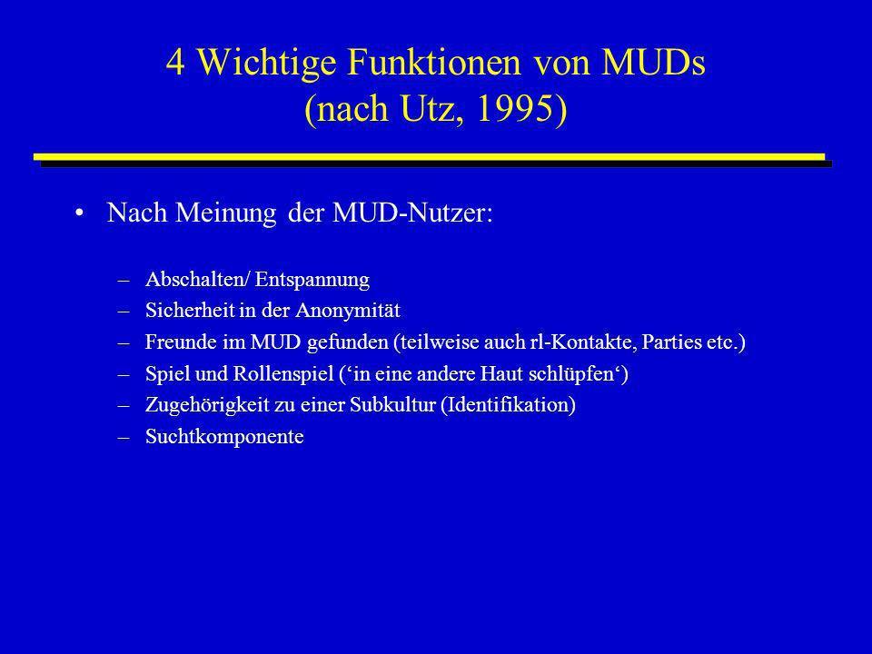 4 Wichtige Funktionen von MUDs (nach Utz, 1995) Nach Meinung der MUD-Nutzer: –Abschalten/ Entspannung –Sicherheit in der Anonymität –Freunde im MUD ge