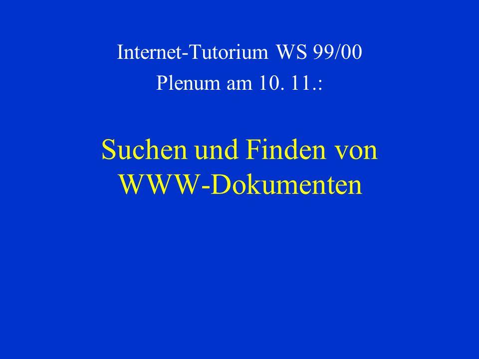 Suchen und Finden von WWW-Dokumenten Internet-Tutorium WS 99/00 Plenum am 10. 11.: