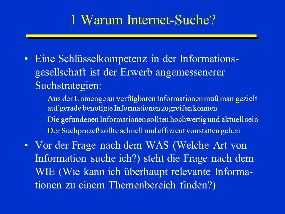 1 Warum Internet-Suche? Eine Schlüsselkompetenz in der Informations- gesellschaft ist der Erwerb angemessenerer Suchstrategien: –Aus der Unmenge an ve