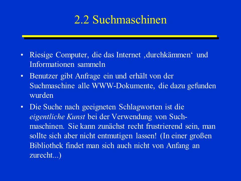 2.2 Suchmaschinen Riesige Computer, die das Internet durchkämmen und Informationen sammeln Benutzer gibt Anfrage ein und erhält von der Suchmaschine a