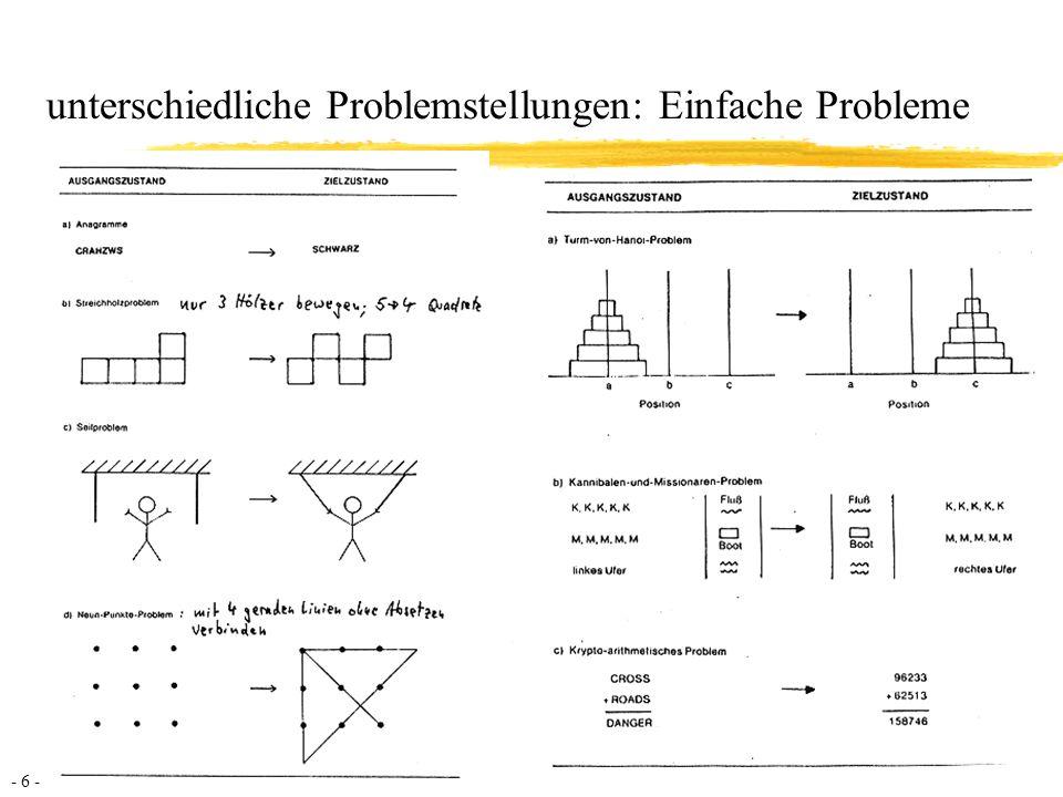 - 7 - Komplexe Probleme: Eigenschaften 1/2 Komplexität aDie Systeme bestehen aus sehr vielen verschiedenen Variablen aKonsequenz: Die Verarbeitungskapazität des Problemlösers wird überschritten, daher besteht die Notwendigkeit der Informationsreduzierung Vernetztheit aDiese Variablen sind untereinander stark vernetzt aKonsequenz: Der Problemlöser muss die (wechselseitigen) Abhängigkeiten zwischen den beteiligten Variablen berücksichtigen, daher besteht die Notwendigkeit zur Modellbildung und Informationsstrukturierung Eigendynamik aDas System entwickelt sich auch ohne Zutun des Akteurs weiter aKonsequenz: Es steht nur begrenzt Zeit zum Nachdenken zur Verfügung, daher besteht die Notwendigkeit rascher Entscheidungen aufgrund oberflächlicher Informationsverarbeitung