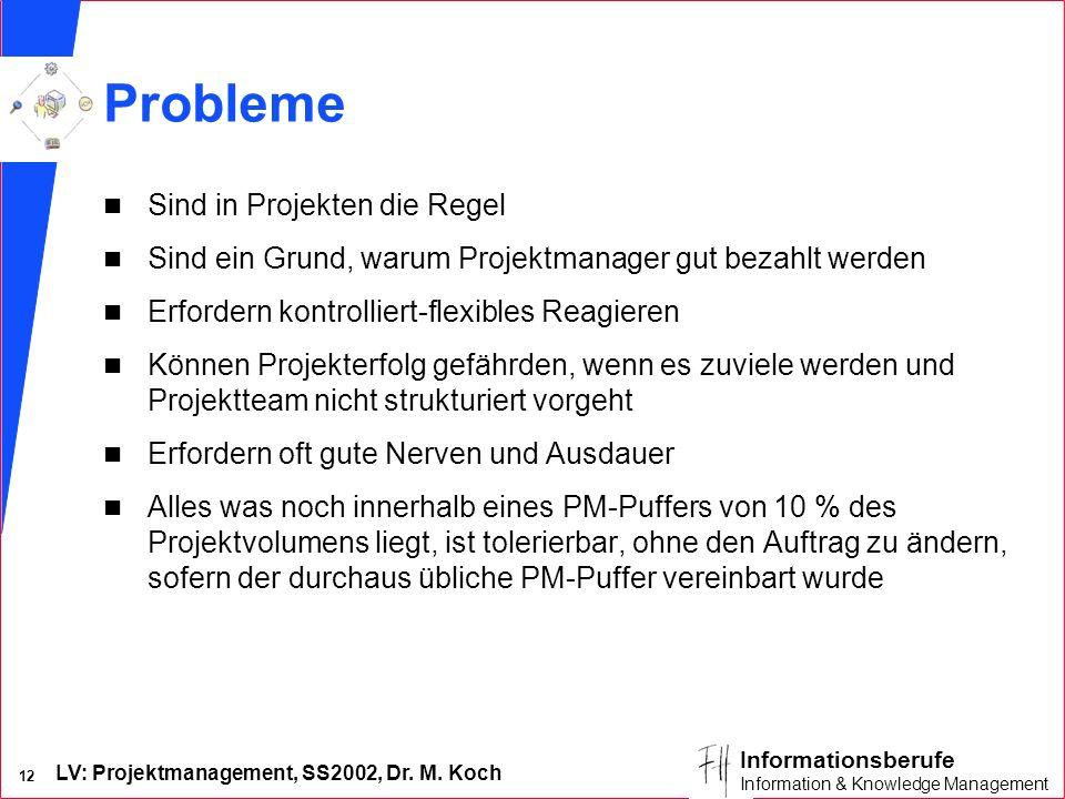 LV: Projektmanagement, SS2002, Dr. M. Koch 12 Informationsberufe Information & Knowledge Management Probleme n Sind in Projekten die Regel n Sind ein