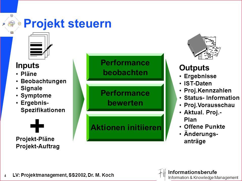 LV: Projektmanagement, SS2002, Dr. M. Koch 4 Informationsberufe Information & Knowledge Management Performance bewerten Performance beobachten Aktione