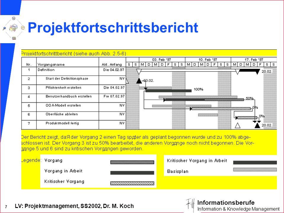 LV: Projektmanagement, SS2002, Dr. M. Koch 7 Informationsberufe Information & Knowledge Management Projektfortschrittsbericht