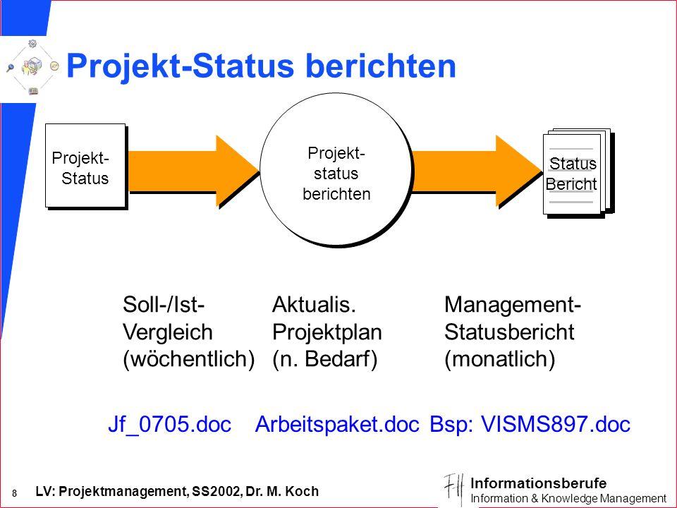 LV: Projektmanagement, SS2002, Dr. M. Koch 8 Informationsberufe Information & Knowledge Management Projekt- Status Projekt- status berichten Status Be