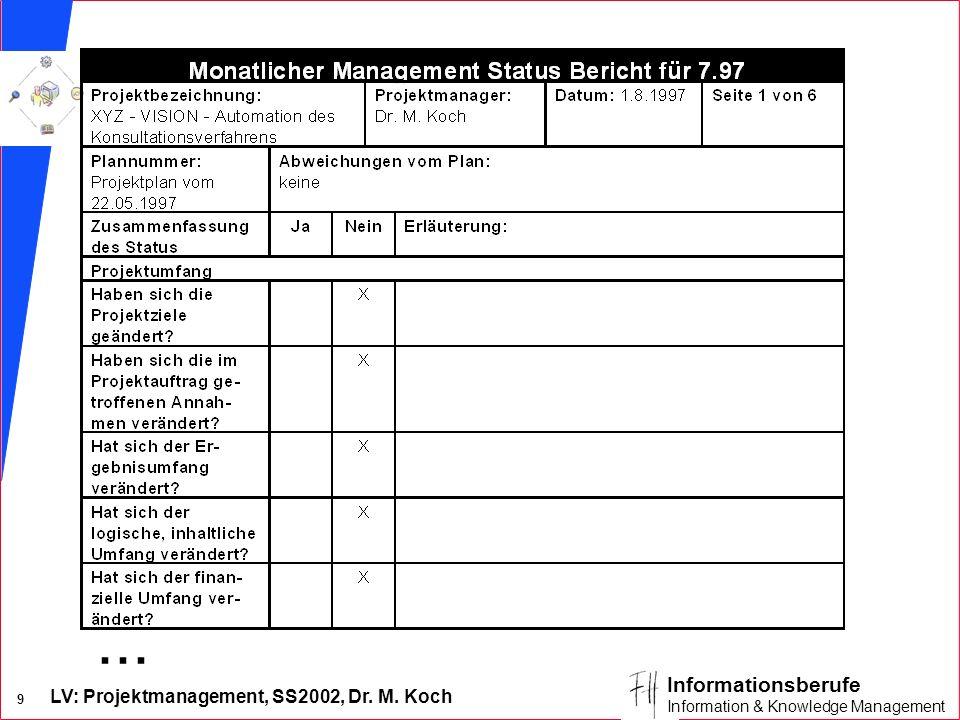 LV: Projektmanagement, SS2002, Dr. M. Koch 9 Informationsberufe Information & Knowledge Management...