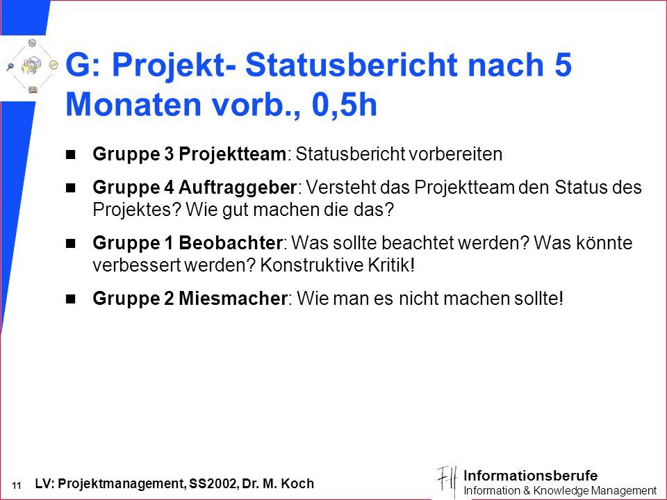 LV: Projektmanagement, SS2002, Dr. M. Koch 11 Informationsberufe Information & Knowledge Management G: Projekt- Statusbericht nach 5 Monaten vorb., 0,