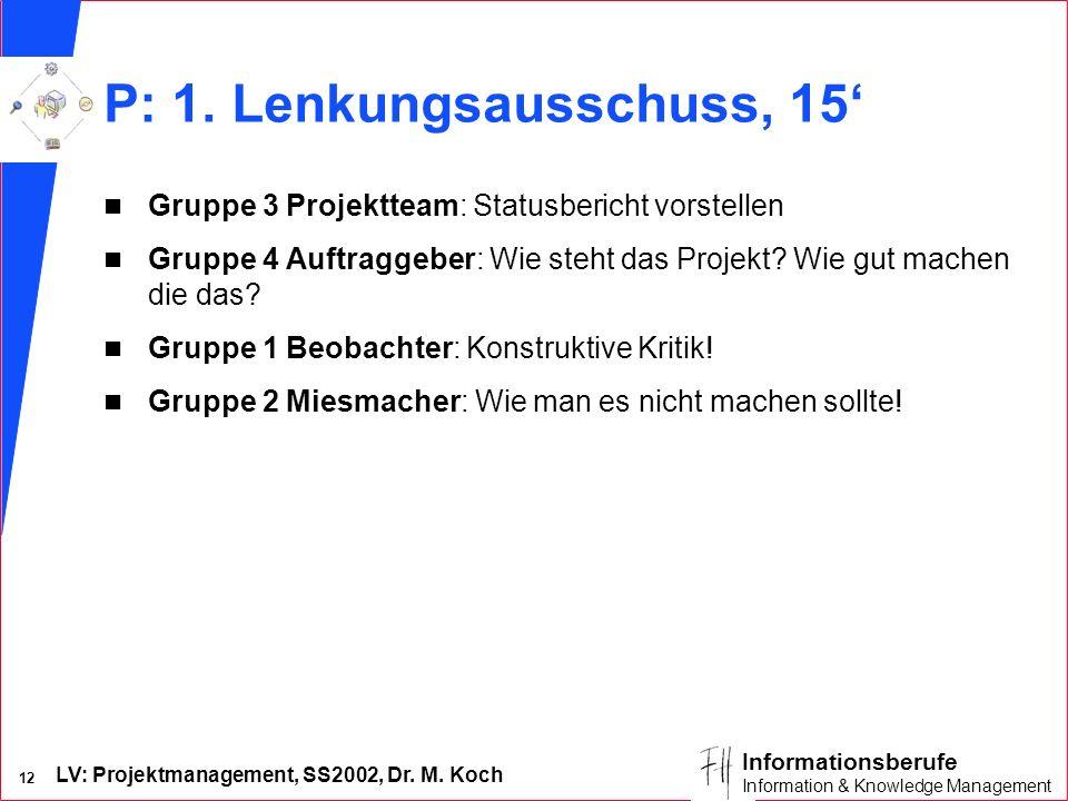 LV: Projektmanagement, SS2002, Dr. M. Koch 12 Informationsberufe Information & Knowledge Management P: 1. Lenkungsausschuss, 15 n Gruppe 3 Projektteam