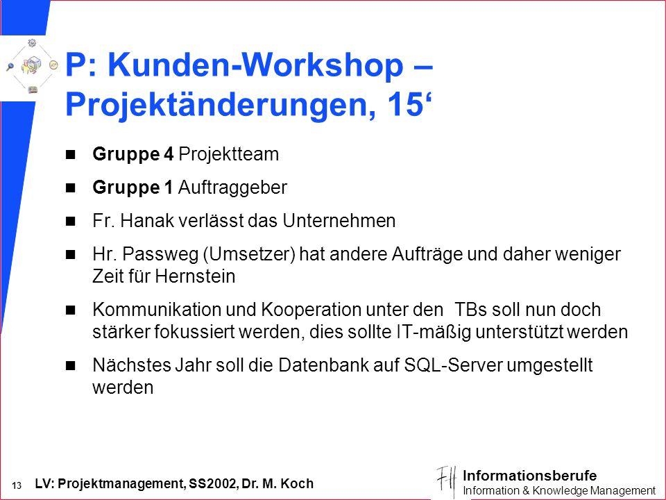 LV: Projektmanagement, SS2002, Dr. M. Koch 13 Informationsberufe Information & Knowledge Management P: Kunden-Workshop – Projektänderungen, 15 n Grupp
