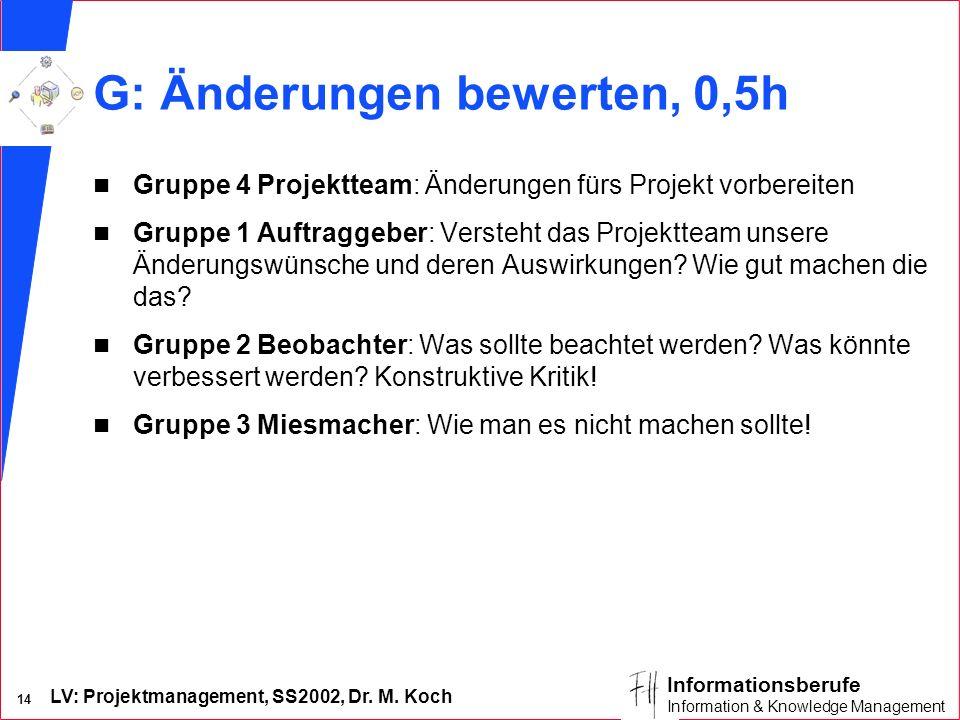 LV: Projektmanagement, SS2002, Dr. M. Koch 14 Informationsberufe Information & Knowledge Management G: Änderungen bewerten, 0,5h n Gruppe 4 Projekttea