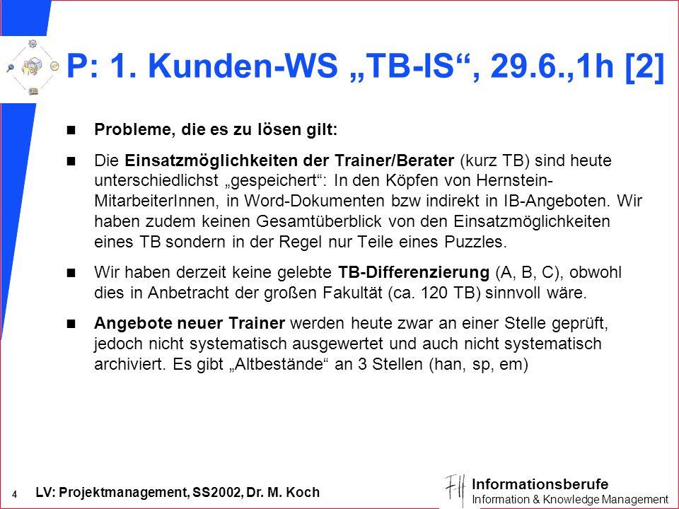 LV: Projektmanagement, SS2002, Dr. M. Koch 4 Informationsberufe Information & Knowledge Management P: 1. Kunden-WS TB-IS, 29.6.,1h [2] n Probleme, die
