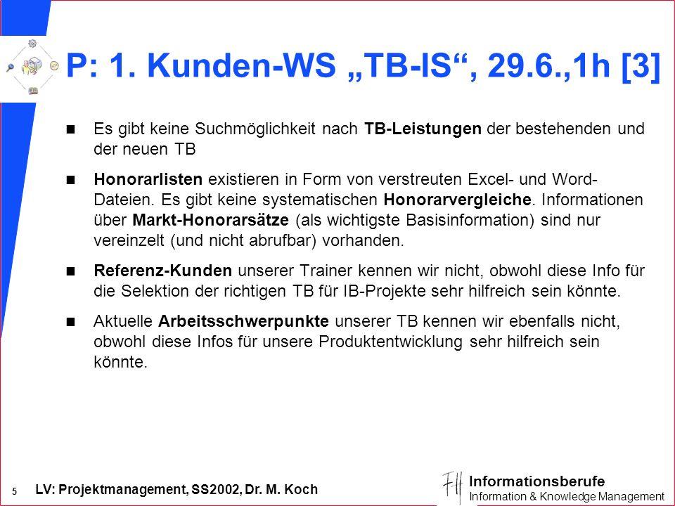 LV: Projektmanagement, SS2002, Dr. M. Koch 5 Informationsberufe Information & Knowledge Management P: 1. Kunden-WS TB-IS, 29.6.,1h [3] n Es gibt keine