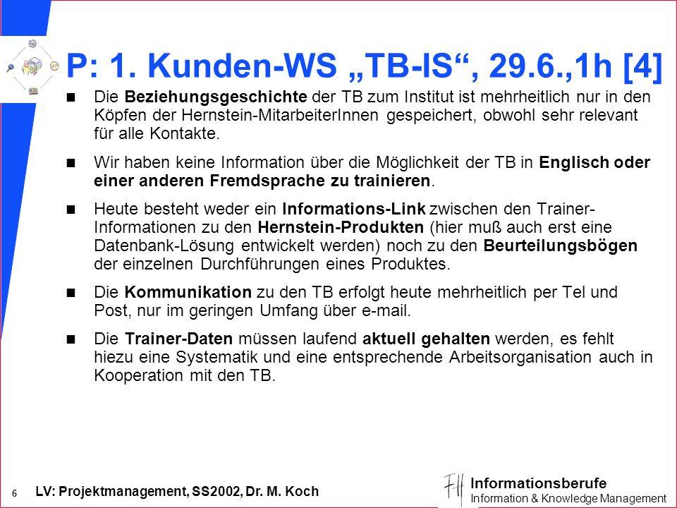 LV: Projektmanagement, SS2002, Dr. M. Koch 6 Informationsberufe Information & Knowledge Management P: 1. Kunden-WS TB-IS, 29.6.,1h [4] n Die Beziehung