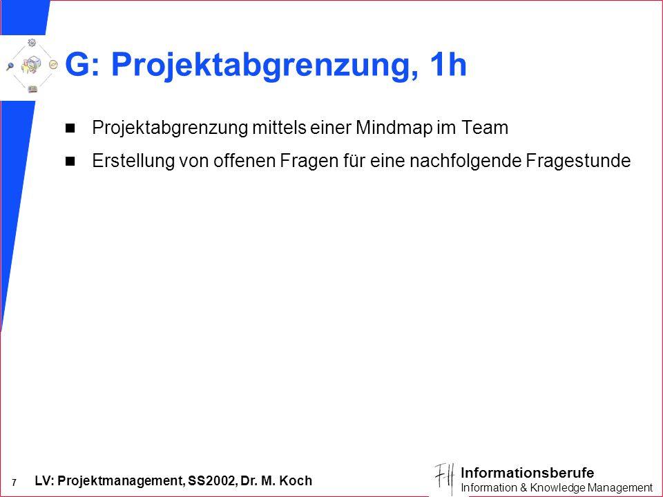 LV: Projektmanagement, SS2002, Dr. M. Koch 7 Informationsberufe Information & Knowledge Management G: Projektabgrenzung, 1h n Projektabgrenzung mittel