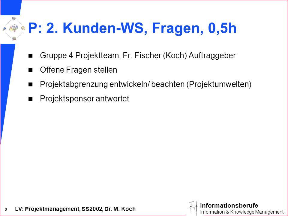 LV: Projektmanagement, SS2002, Dr. M. Koch 8 Informationsberufe Information & Knowledge Management P: 2. Kunden-WS, Fragen, 0,5h n Gruppe 4 Projekttea