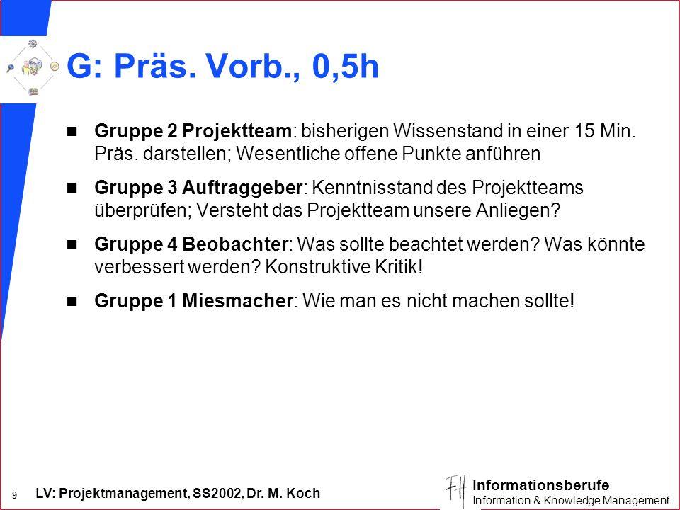 LV: Projektmanagement, SS2002, Dr. M. Koch 9 Informationsberufe Information & Knowledge Management G: Präs. Vorb., 0,5h n Gruppe 2 Projektteam: bisher