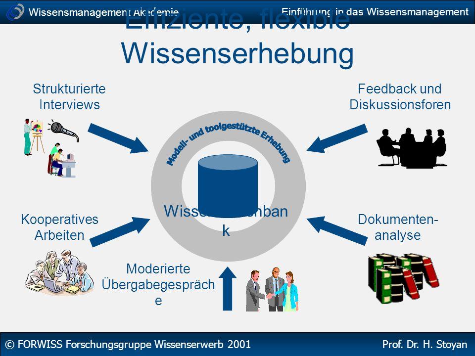 Wissensmanagement Akademie © FORWISS Forschungsgruppe Wissenserwerb 2001 Prof. Dr. H. Stoyan Einführung in das Wissensmanagement Effiziente, flexible