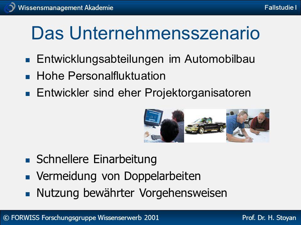 Wissensmanagement Akademie © FORWISS Forschungsgruppe Wissenserwerb 2001 Prof. Dr. H. Stoyan Fallstudie I Das Unternehmensszenario Entwicklungsabteilu