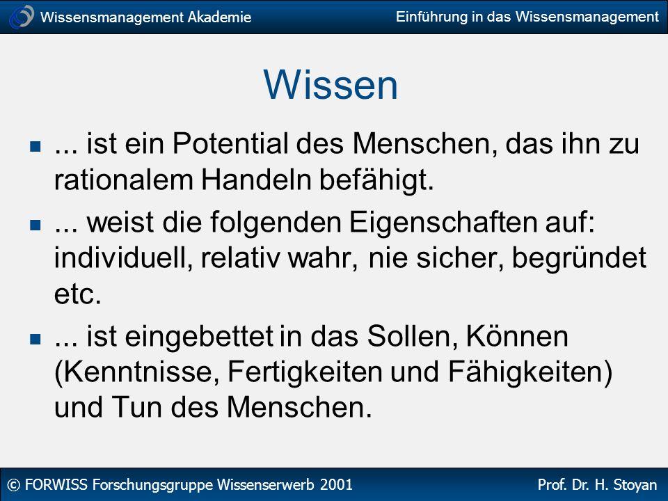Wissensmanagement Akademie © FORWISS Forschungsgruppe Wissenserwerb 2001 Prof. Dr. H. Stoyan Einführung in das Wissensmanagement Wissen... ist ein Pot