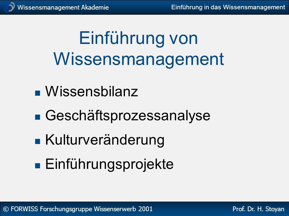Wissensmanagement Akademie © FORWISS Forschungsgruppe Wissenserwerb 2001 Prof. Dr. H. Stoyan Einführung in das Wissensmanagement Einführung von Wissen