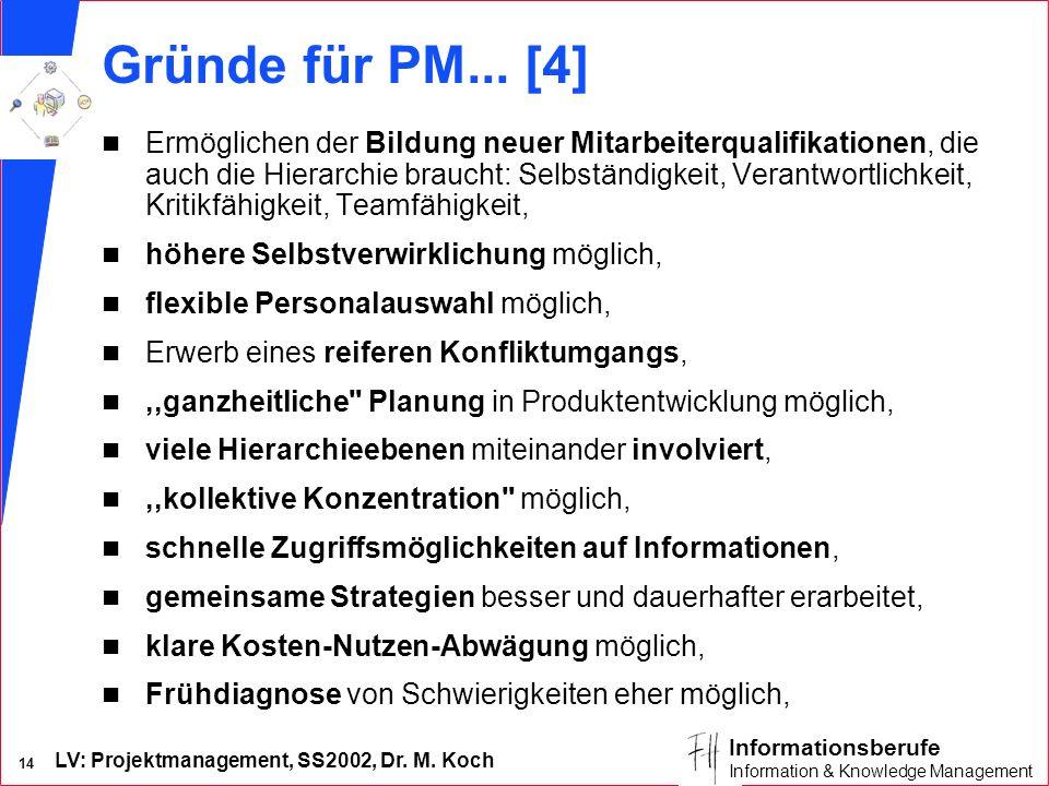 LV: Projektmanagement, SS2002, Dr. M. Koch 14 Informationsberufe Information & Knowledge Management Gründe für PM... [4] n Ermöglichen der Bildung neu