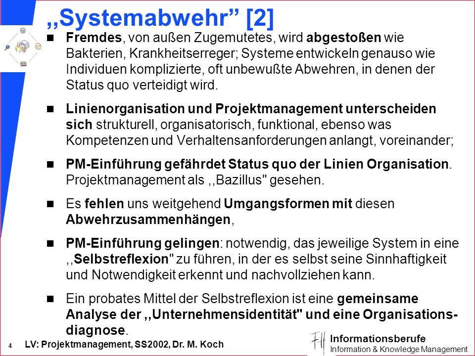 LV: Projektmanagement, SS2002, Dr. M. Koch 4 Informationsberufe Information & Knowledge Management,,Systemabwehr [2] n Fremdes, von außen Zugemutetes,